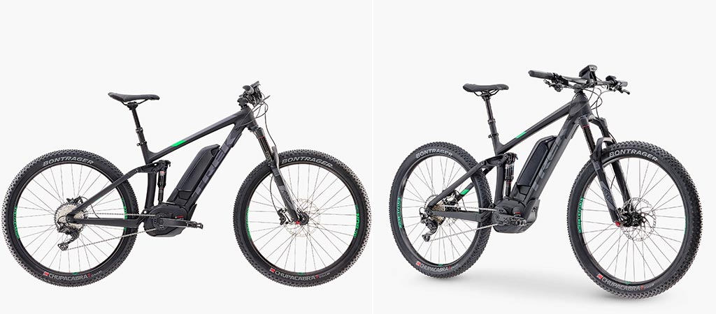 Two different views of the Trek Powerfly 8 FS Mountain Bike
