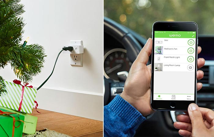 Wemo Mini Smart Plug connected to Christmas lights, and a view of the smartphone app.