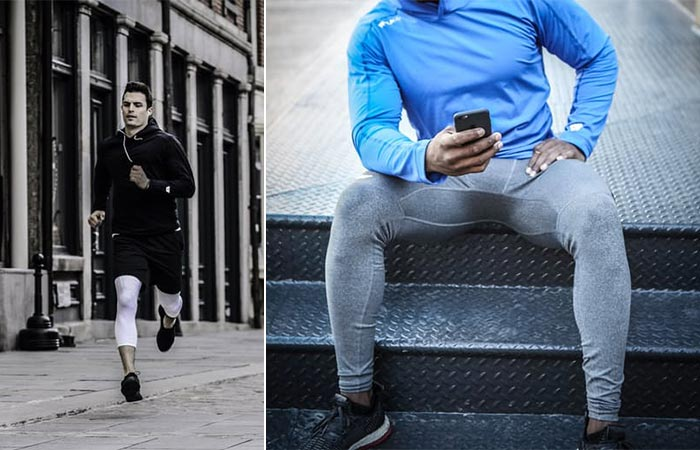 two images of guys ewaring compression tights