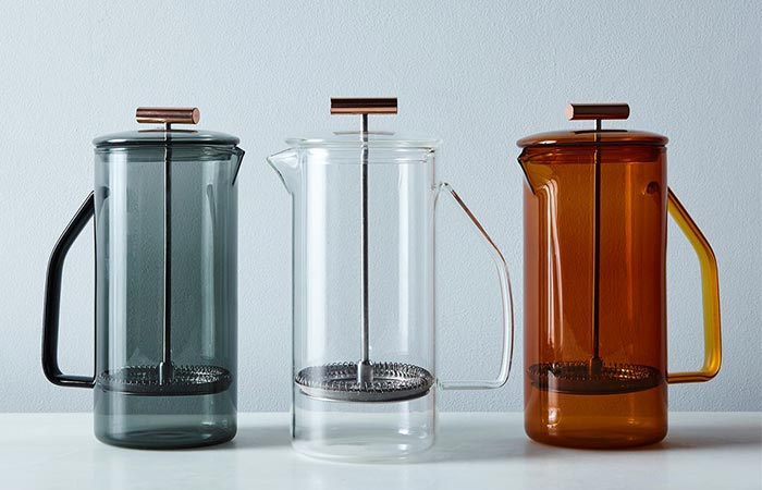 three glass Yield French Presses