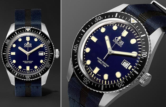 Two different views of the Oris Divers Sixty-Five