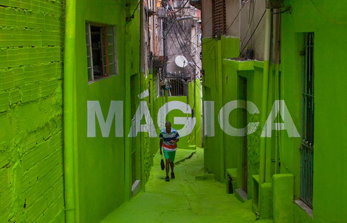 green magica painting on a brasilian alley