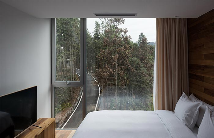 bedroom in a tree house hotel