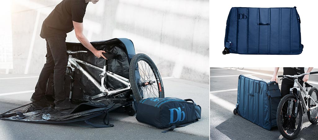 Three different views of the Douchebags The Trail Bike Travel Bag