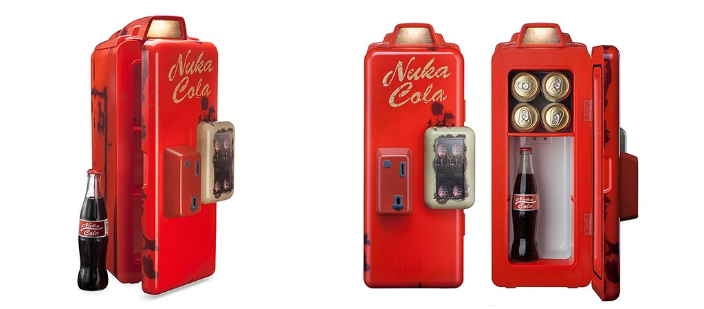 Two different views of the Fallout 4 Nuka Cola Mini Refrigerator
