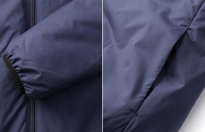 Finisterre Aeris Reversable Jacket view of the cuff, and pocket.
