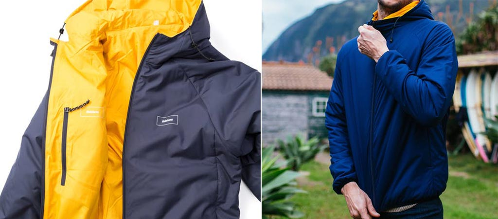 Two different views of the Finisterre Aeris Reverseable Jacket