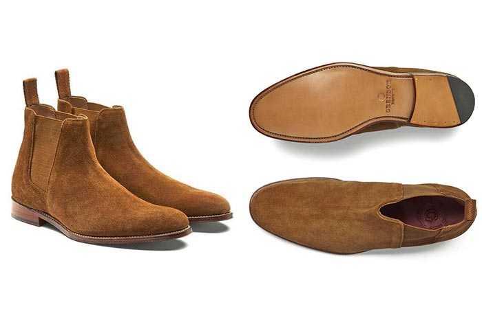 two images of suede chelsea boots