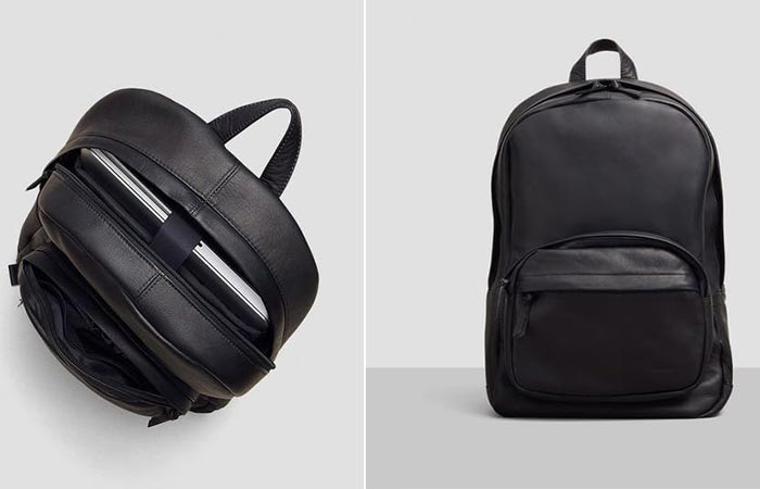 Top and front view of the Kenneth Cole Columbian Leather Computer Backpack