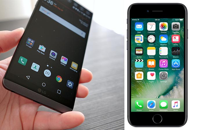 LG G6 being held by some one next to an iPhone 7
