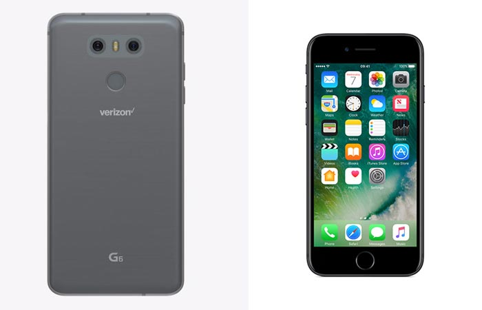 Back view of the G6 and front view of the iPhone 7