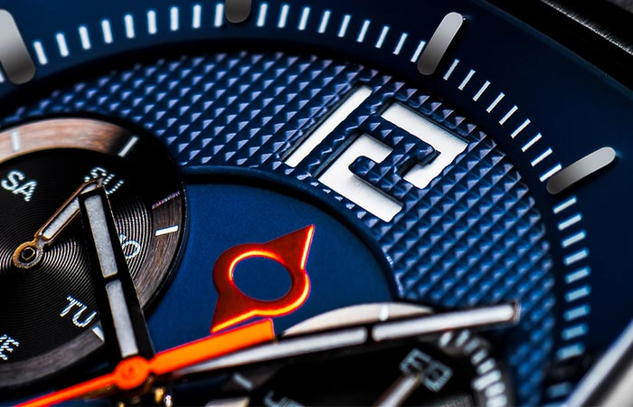 Close up of a blue LIV Rebel Watch Dial