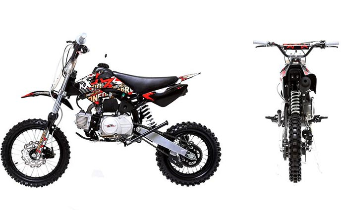 Side view and back view of the M2R Racing Pit Bike