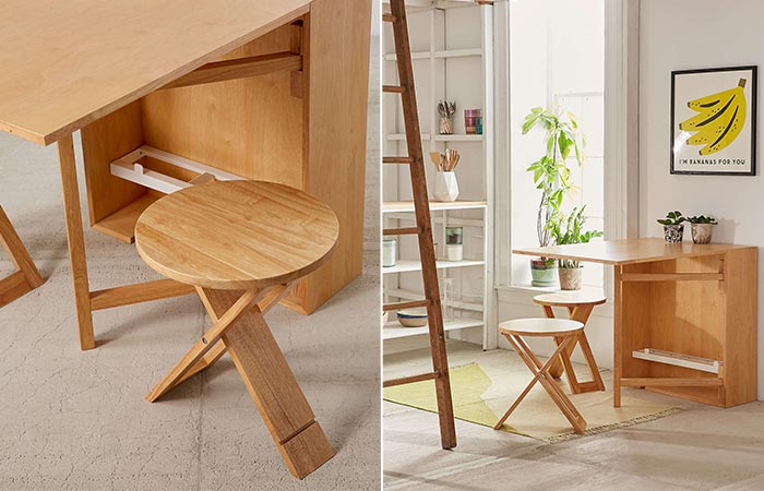 two images of a collapsible table