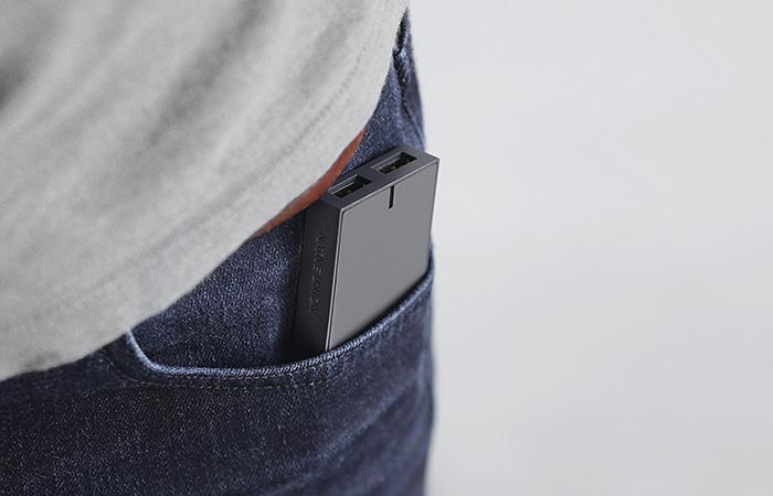 Native Union Charger in guy's pocket