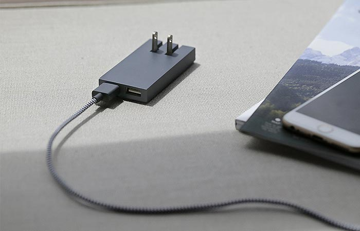 Native Union Dual Port Charger with USB attached.