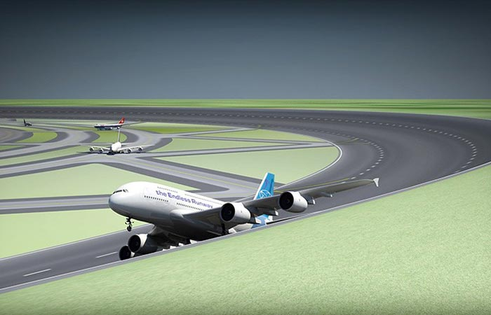 Plan taking off on the endless runway