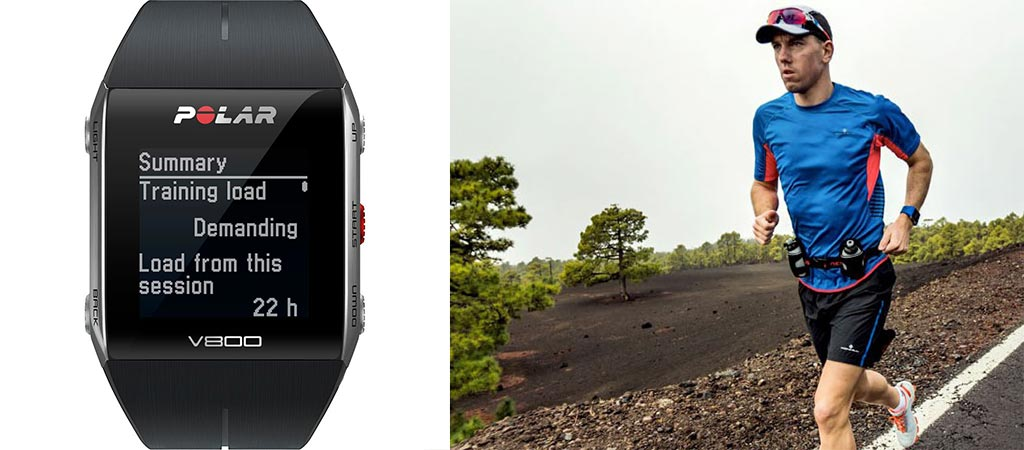Picture of the Polar V800 GPS Sports Watch and an image of a man running with the blue version