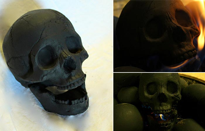 Three different views of the Skull Gas Fireplace Logs