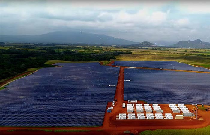 Aerial view of the solar panels at Tesla's Kauai Solar Farm.