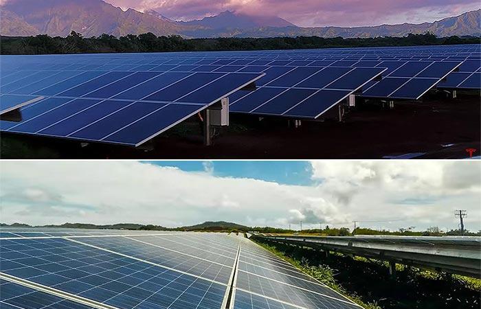 Two different landscape shots of the Tesla Solar Farm