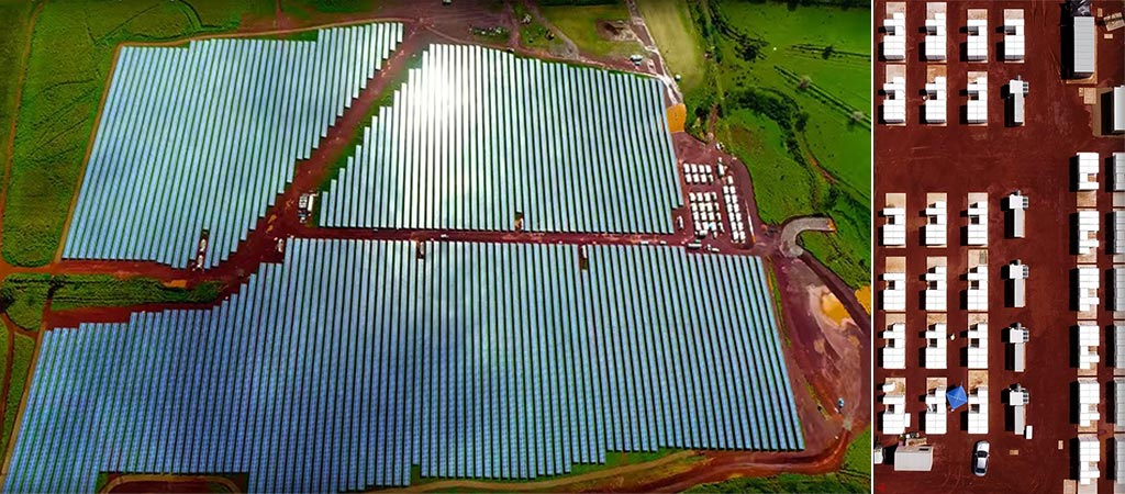 Two aerial views of the Tesla Solar Farm in Kauai, Hawaii