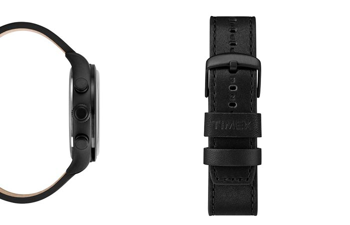 two images of details on black timex watch