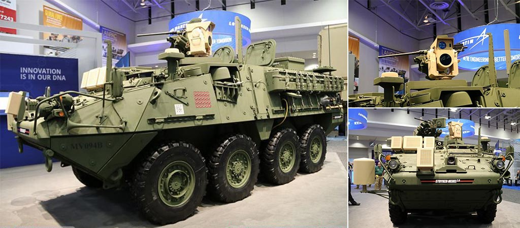 Three different views of a Stryker outfitted with the MEHEL Laser System