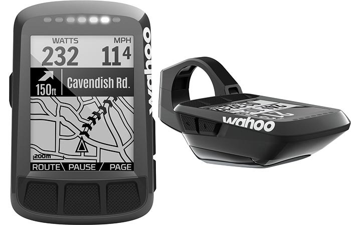 Two different views of the Wahoo Fitness ELEMNT BOLT Computer and a view of its GPS