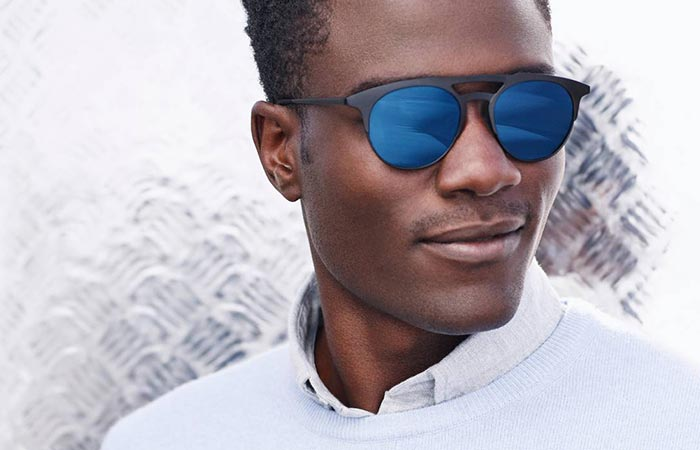 a guy wearing blue Warby Parker Bennett Sunglasses