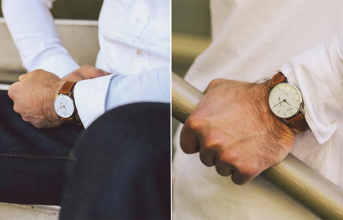 two images of Withings Activité with a brown strap