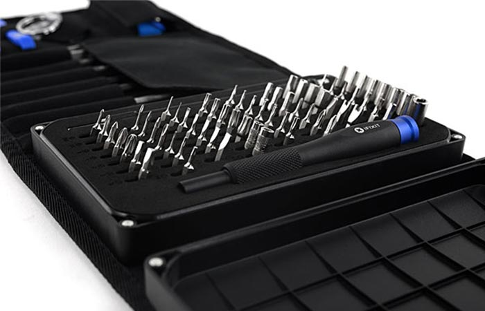 Close up view of the iFixit Pro Tech Toolkit screwdriver bits