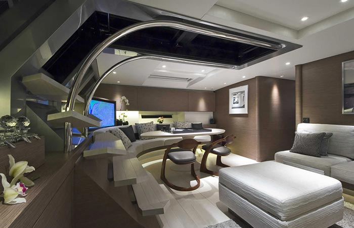Main hall of the Angel's Share Luxury Superyacht