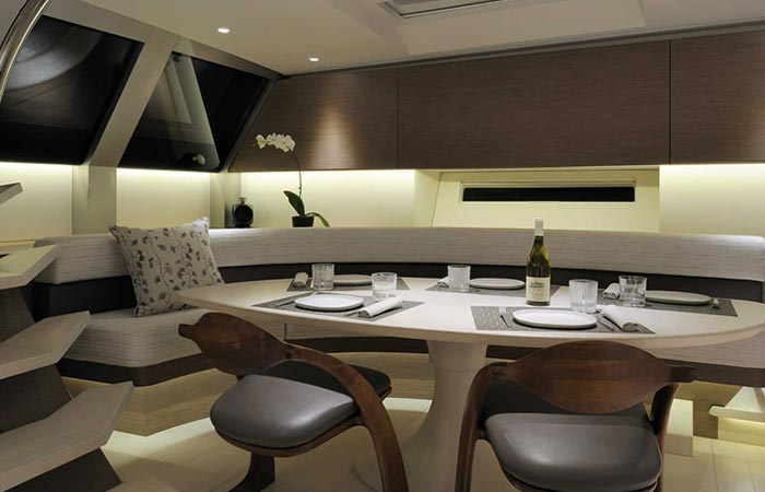 Dining room of the Angel's Share Luxury Superyacht