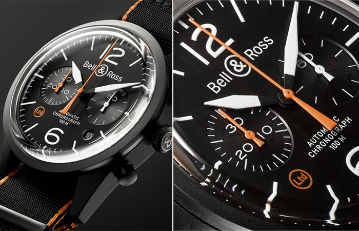 Two different close up views of the Bell & Ross BR 126 Chronograph dial