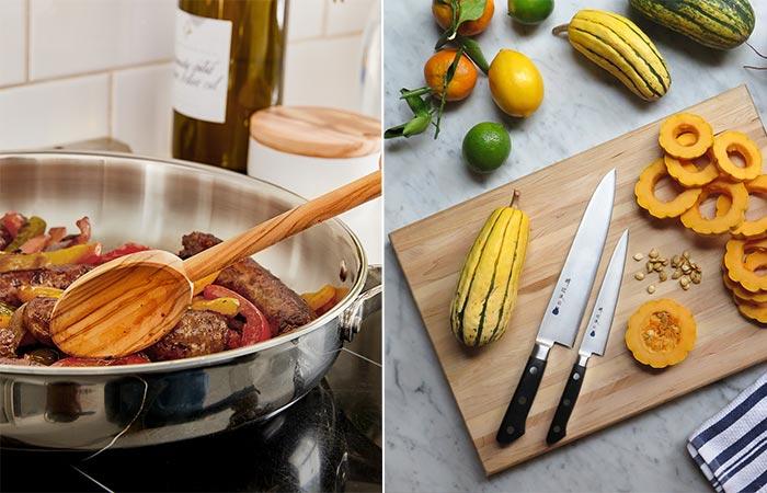 preparing food with Blue Apron ingredients