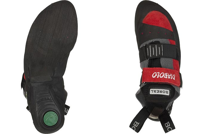 Top and bottom view of the Boreal Diablo Climbing Shoe