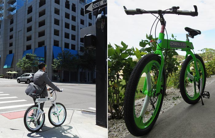two images of Chainless bike