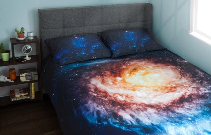 Galaxy Bedding showcased in a room