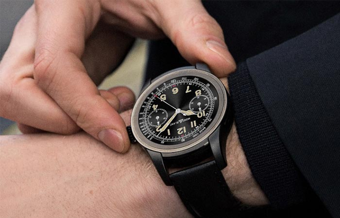 Montblanc Smartwatch being adjusted