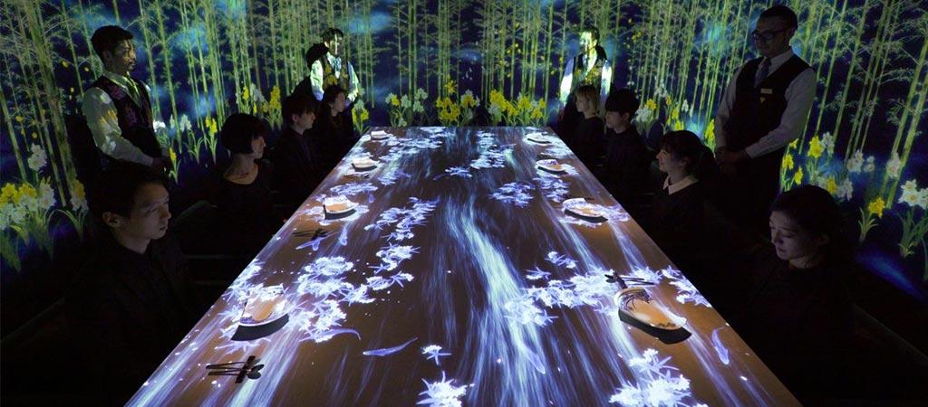 Teamlab's Interactive Restaurant Interior In Tokyo