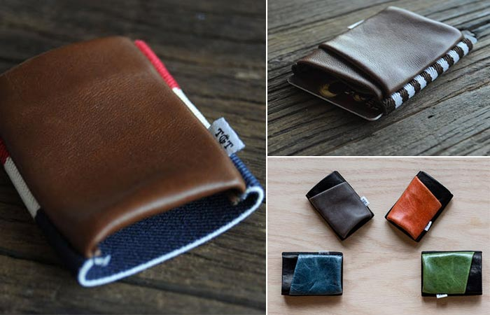 three images of leather wallets