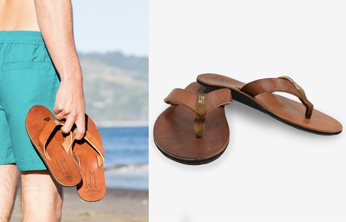 two images of brown leather Ace Sandal