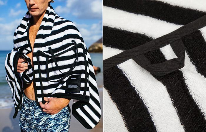 two images or stripy black and white Finisterre beach towel