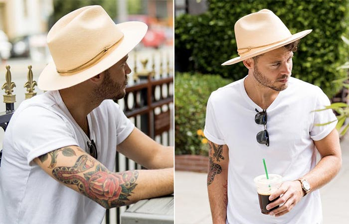 two images of a guy wearing Pantropic Explorer Hat