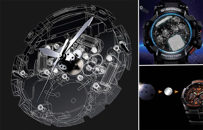 three images of Casio G Shock features