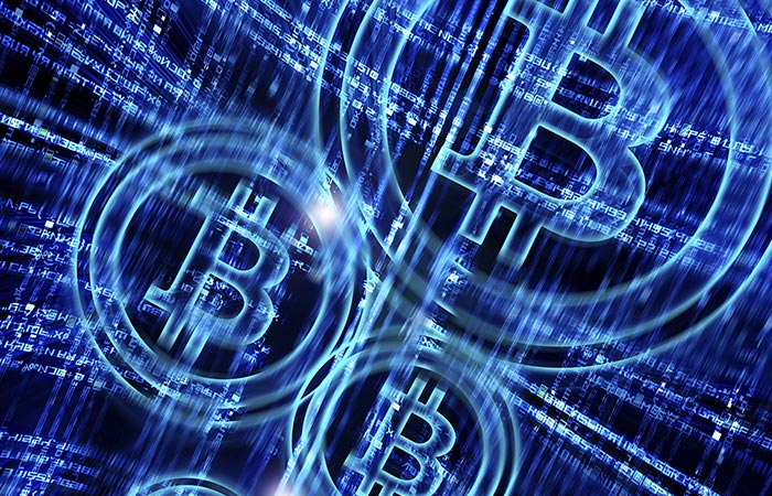 blue bitcoin sign