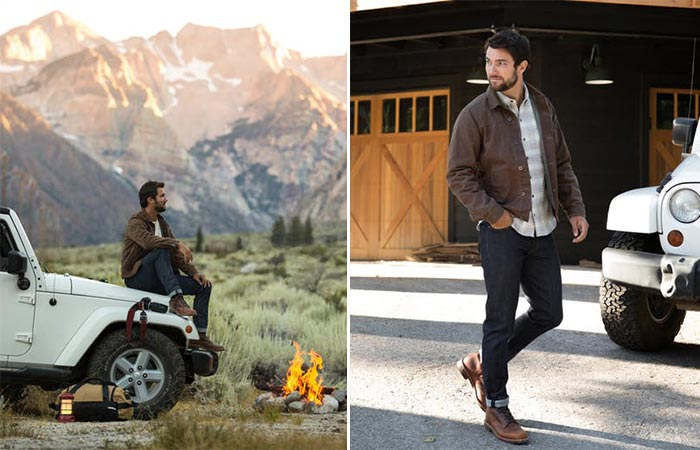 two images of a guy wearing Flint and Tinder Waxed Trucker Jacket