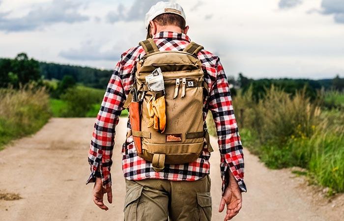 a guy wearing Kletterwerks Flip Rucksack