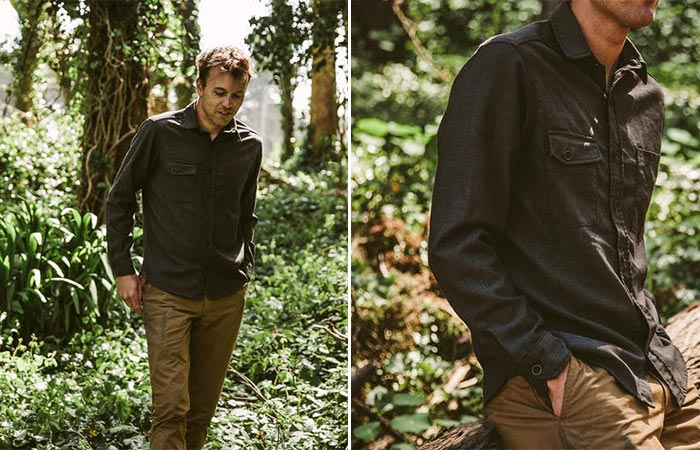 two images of Taylor Stitch Utility Shirt